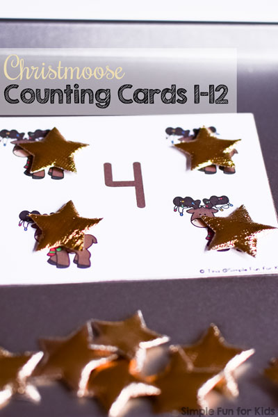 Practice counting and 1:1 correspondence with these cute Christmoose Counting Cards 1-12. (Day 14 of the 24 Days of Christmas Printables for Toddlers.)