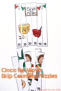 Learn skip counting with a fun Mexican theme: Cinco de Mayo Skip Counting Puzzles for your kindergartener!
