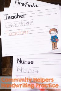 Help your kindergartener or preschooler practice handwriting with this cute Community Helper Handwriting Practice Printable! Includes a dashed font and one with directional arrows.