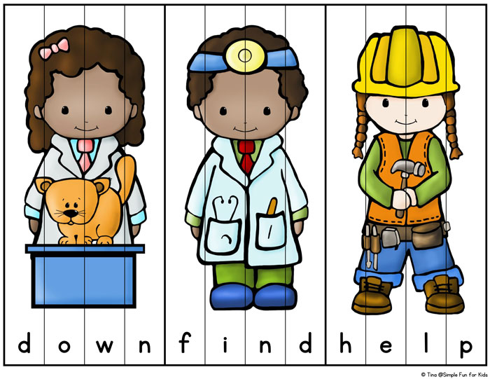 Community Helpers Sight Word Puzzles Simple Fun For Kids