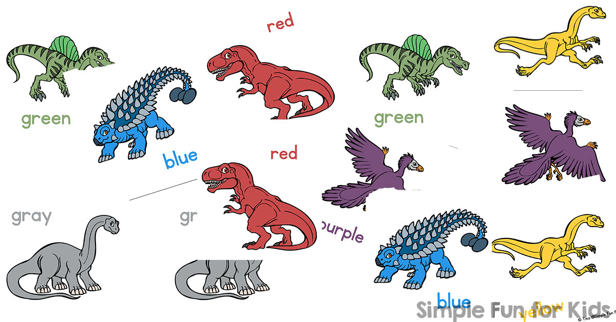photo relating to Dinosaur Matching Game Printable referred to as Dinosaur Matching Video game for Babies - Very simple Pleasurable for Young children