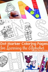 Are your kids learning their letters? Try these simple printable Dot Marker Coloring Pages for Learning the Alphabet with your toddlers, preschoolers, and kindergarteners! A simple and fun way to learn more about each letter.