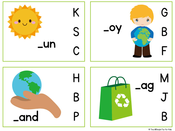 Earth Day Beginning Sound Clip Cards Printable - Simple Fun for Kids