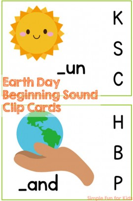 Earth Day Beginning Sound Clip Cards Printable