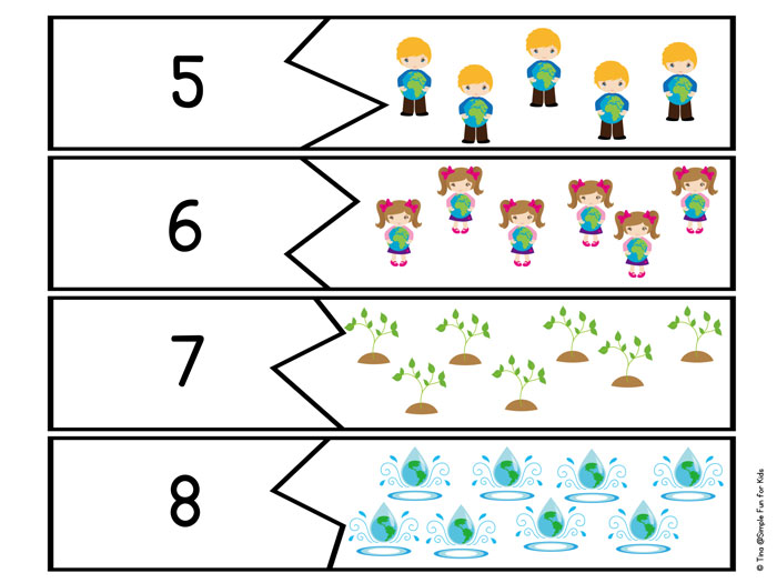 Earth Day Counting Puzzles Printable - Simple Fun for Kids