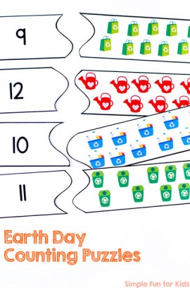 Earth Day Counting Puzzles Printable