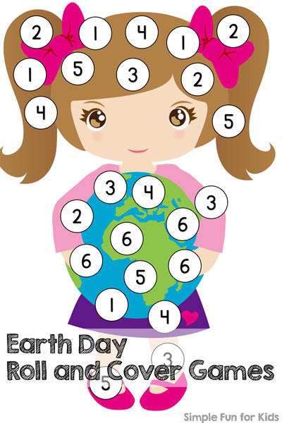 Try these simple math games for preschoolers and kindergarteners: Earth Day Roll and Cover Games! All you need is a die, some manipulatives, and you're ready to play!