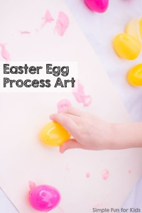 Super simple art project with no paintbrushes: Easter Egg Process Art - perfect for kids of all ages, toddlers and preschoolers on up!