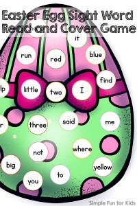 Free Kindergarten Printables: Turn sight word review into a game with this Easter egg sight word read and cover game!
