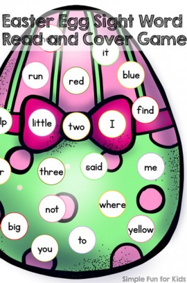 Easter Egg Sight Word Read and Cover Game
