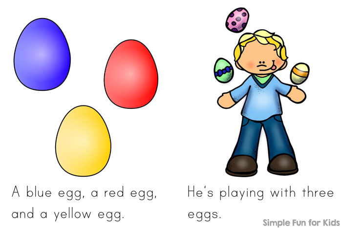 Learn to read with an Easter theme with your preschooler or kindergartner: Download this printable Eggs Everywhere! Emergent Reader that uses lots of pre-primer sight words and color words.