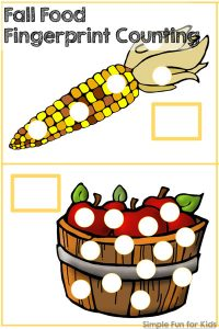 Practice counting up to 15 in a fun, hands-on way with this Fall Food Fingerprint Counting activitiy! Great for toddlers and preschoolers who are learning counting basics.