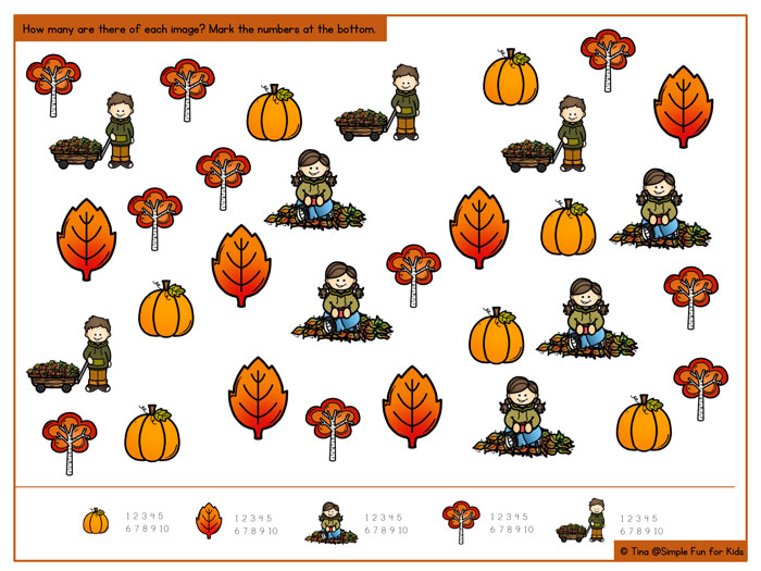 How many are there of each item? Enjoy this fun Fall I Spy Game for some informal math practice, including counting up to 10, 1:1 correspondence, visual discrimination, and number recognition. Perfect for your preschooler or kindergartner! CCSS.Math.Content.K.CC.B.5, CCSS.Math.Content.K.CC.B.4.a, CCSS.Math.Content.K.CC.B.4.b