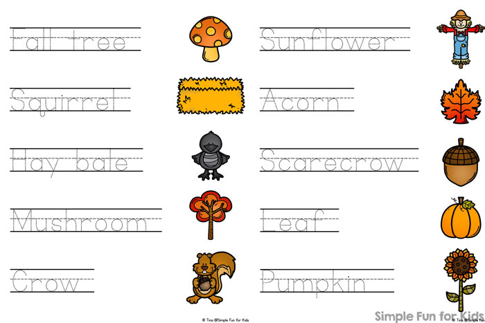 Practice reading and writing simple fall words with your kindergartener with this printable Fall Words Read, Trace, and Connect!
