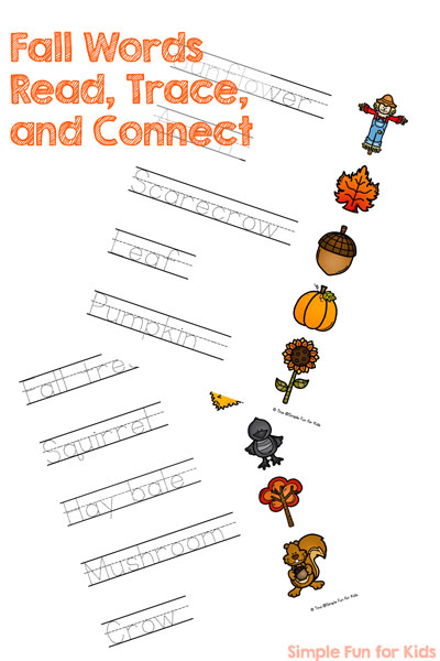 Fall Words Read, Trace, and Connect