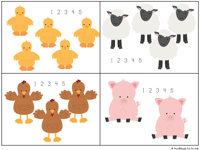 Math Printables for Kids: Learn to count up to 10 with these cute Farm Animal Counting 1-10 cards! The ability to write numbers isn't required. Great for preschoolers and toddlers who are starting to learn to count!