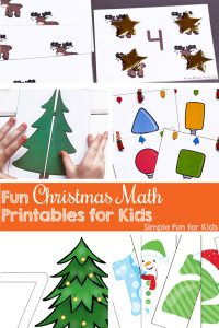 Check out these 25+ Fun Christmas Math Printables for Kids: Puzzles, clip cards, matching games, sorting, numbers, counting, and more! Great for learning with toddlers, preschoolers, and kindergarteners!