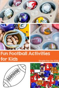Check out these fun football activities for kids: Sensory and printable activities for toddlers and preschoolers!