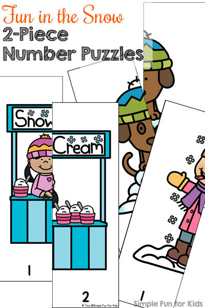 Work on hand-eye coordination, problem solving, early number recognition, and more with these Fun in the Snow 2-Piece Number Puzzles featuring cute kids and a dog! (Day 9 of the 24 Days of Christmas Printables for Toddlers.)