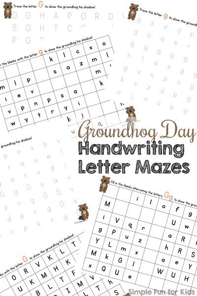 G is for Groundhog Handwriting Letter Mazes Printable