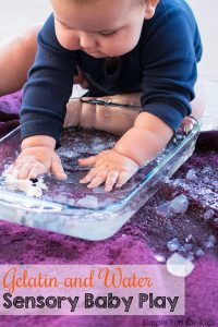 Want something simple and fun for baby to do? This Gelatin and Water Sensory Baby Play activity is totally taste-safe and a great chance to explore an unusual material.