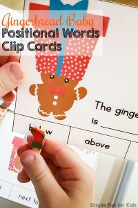 Help your kindergartener work on reading positional sight words with these cute printable Gingerbread Baby Positional Words Clip Cards!