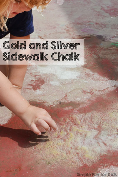 Have you ever heard of gold and silver sidewalk chalk? I hadn't - so I made some!