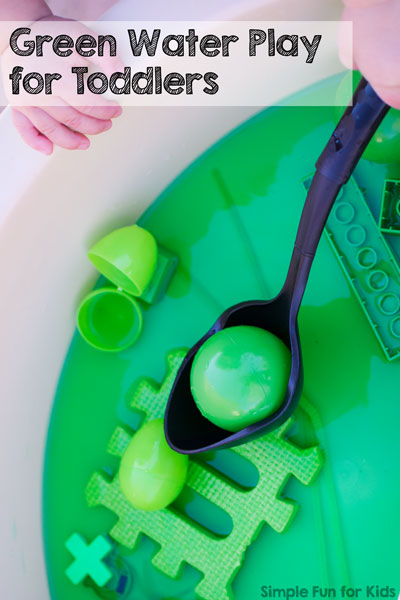 Help your little one explore the color green in a hands-on sensory way with this Green Water Play for Toddlers activity!