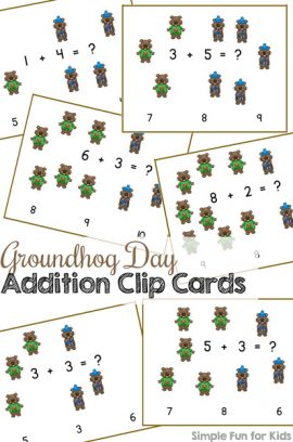 Groundhog Day Addition Clip Cards