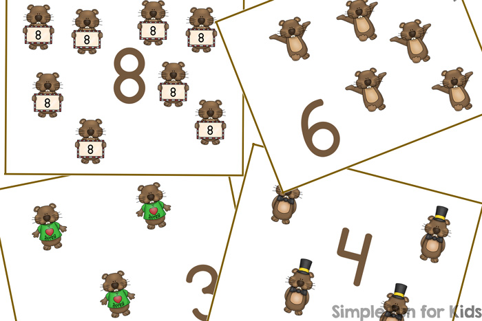 Practice counting up to 12 with these cute printable Groundhog Day Counting Cards! Great for practicing 1:1 correspondence with a few manipulatives or as flash cards. I use numbers 1-4 with my toddler and have lots of room to extend the numbers by the time he starts preschool. (Part of the 7 Days of Groundhog Day Printables for Kids series.)