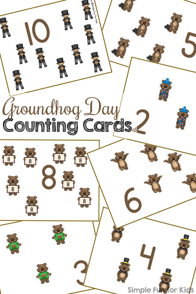 Groundhog Day Counting Cards 1-12