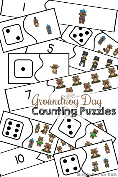 Groundhog Day Counting Puzzles Printable