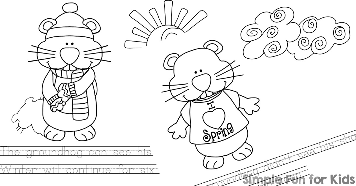 Groundhog Day Emergent Reader Coloring Pages - Simple Fun for Kids
