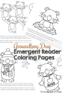 Color while learning to read (or learn to read while coloring) with these cute printable Groundhog Day Emergent Reader Coloring Pages! Simple words that go with the cute images of groundhogs are perfect for older preschoolers and kindergarteners who are learning to read.