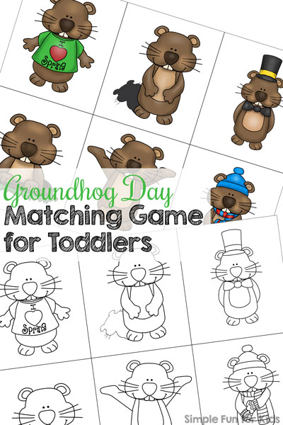 Matching games are my 2-year-old's favorite! Most recently, he's had fun with this simple cute Groundhog Day Matching Game for Toddlers! Match groundhogs in different poses and practice visual discrimination , visual scanning, and 1:1 correspondence. Or extend the activity with the shadow matching version!