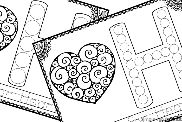 Learn about the letter H with these cute printable H is for Heart Dot Marker Coloring Pages! Coloring, dotting, tracing, reading - whatever your toddlers, preschoolers, and kindergarteners are ready for!