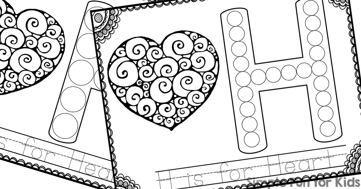 H is for Heart Dot Marker Coloring Pages - Simple Fun for Kids