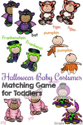 Halloween Baby Costumes Matching Game for Toddlers