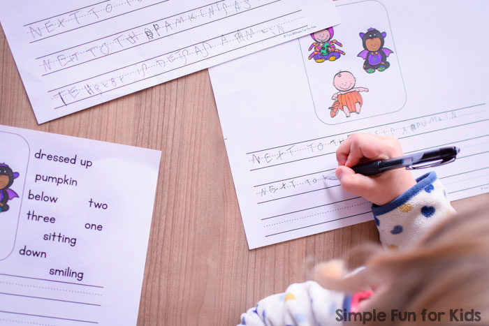Give kindergarteners as much or as little help as they need when they start writing their own sentences: These printable Halloween Costumes Writing Prompts for Beginners include four variations.