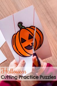 Preschoolers and kindergarteners can practice cutting AND use the pieces constructively! Great for different skill levels, as there are three different levels of difficulty for each of these Halloween Cutting Practice Puzzles.