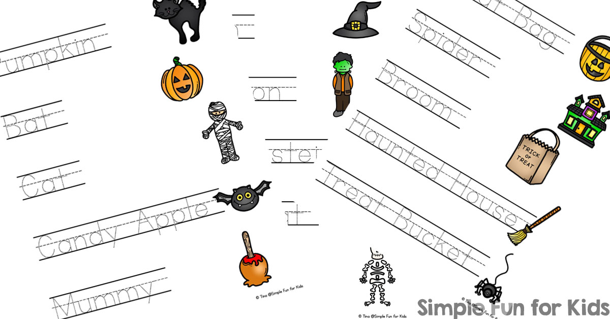 Halloween Words Read, Trace, and Connect Worksheets - Simple Fun for ...