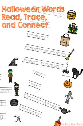 Halloween Words Read, Trace, and Connect Worksheets
