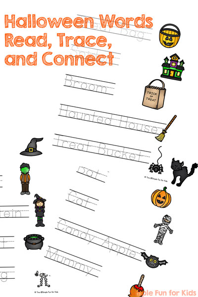 Halloween Words Read, Trace, and Connect Worksheets - Simple Fun ...