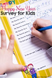 Fill out this cute printable Happy New Year Survey for Kids this New Year's Eve as a keepsake to look back on in years to come!