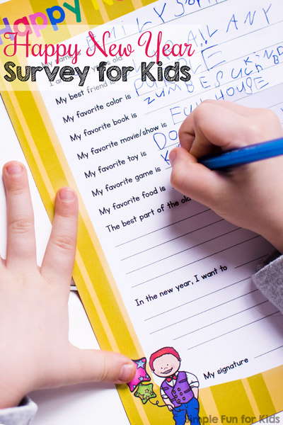 fill out this cute printable happy new year survey for kids this new years eve as