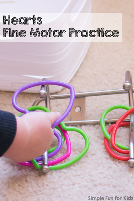 Fine Motor Activities for Toddlers: Quick and simple Hearts Fine Motor Practice for young toddlers! Perfect for Valentine's Day or just for fun.