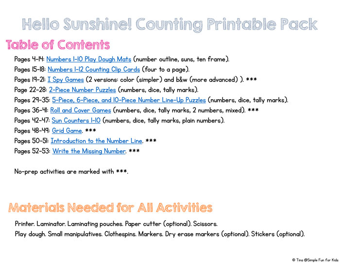 This Hello Sunshine! Counting Printable Pack contains 10 different activities for learning and practicing counting at different skill levels for toddlers and preschoolers with play dough mats, games, clip cards, puzzles, and more. Includes numbers, dice, and tally mark versions.