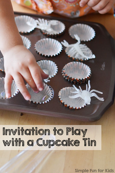 Fun fine motor invitation to play with a cupcake tin (and a few creepy crawlies ;) ).
