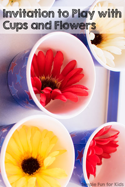 My toddler loved this fun little sensory invitation to play with cups and flowers. I always enjoy the simplicity and how he adds his own ideas to the activity :)