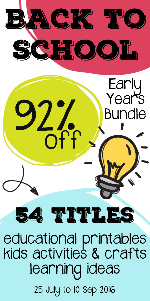 Get your Back to School Ebook Bundle now: For a limited time, you get a $400 value for only $29.95!!! Sensory, play, and learning activities, printables, parenting resources, and more for all phases of early childhood! Offer ends September 10, 2016.